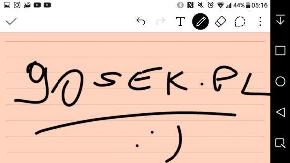 Sporządzanie i zabezpieczanie notatek w Quick Memo+ w LG X Power - 90sekund.pl