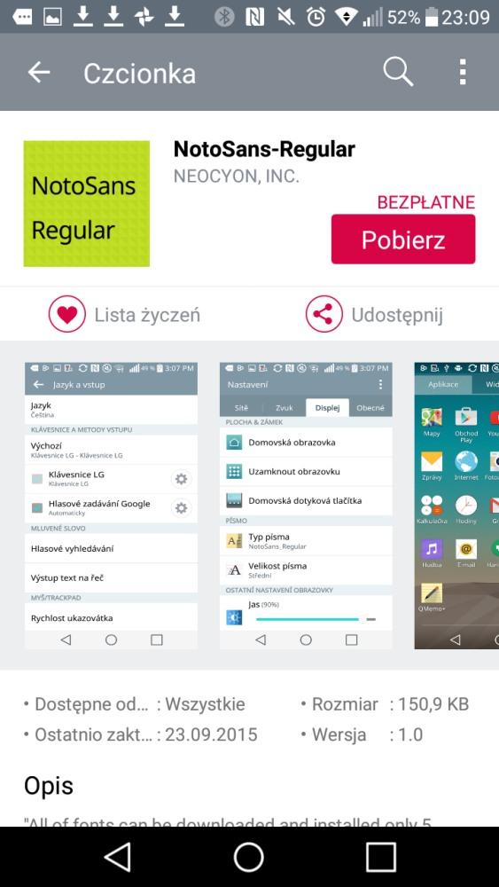 Ustawienia czcionki w LG X Power i kroje do pobrania ze sklepu LG SmartWorld - 90sekund.pl