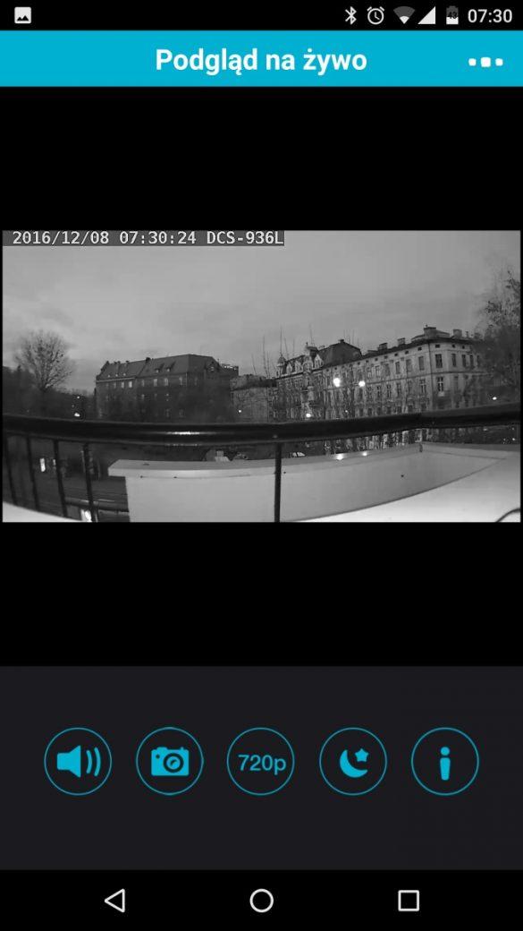 Aplikacja mobilna MyDlink do obsługi kamery D-Link DCS-936L - recenzja 90sekund.pl - Tryb nocny