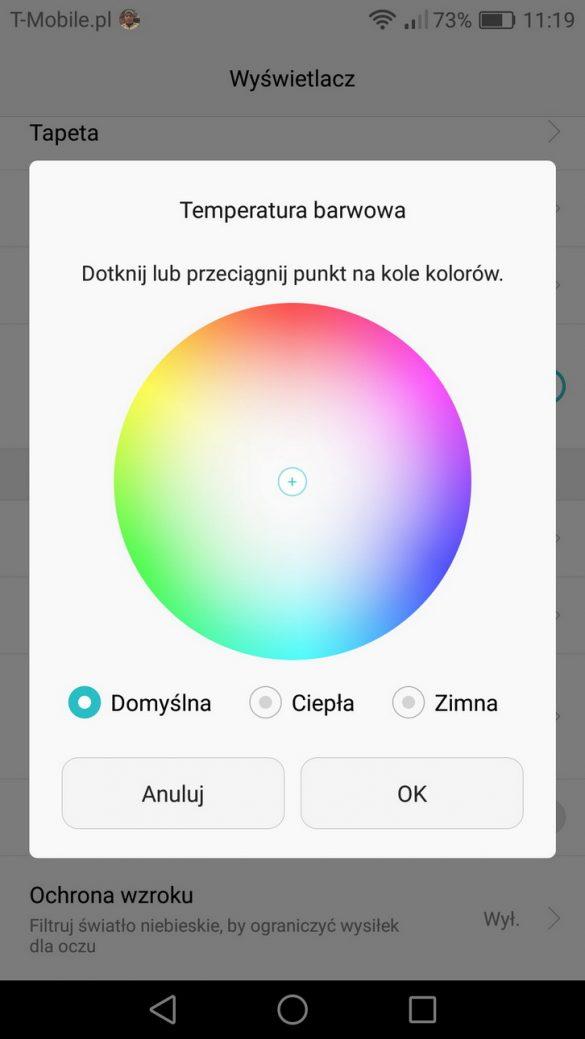 Zmiana temperatury barwowej - recenzja Honor 8 - 90sekund.pl