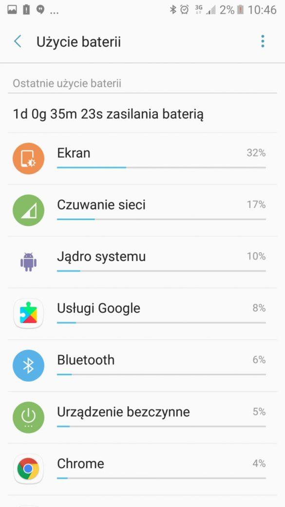 Użycie baterii w Samsungu Galaxy A5 2017 - recenzja 90sekund.pl