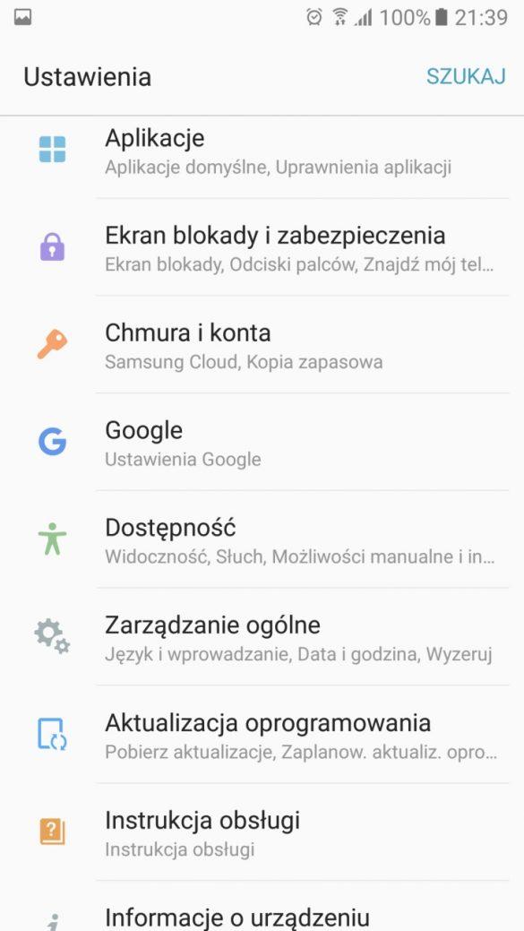 Nowy układ pogrupowanych Ustawień w Samsungu Galaxy A5 2017 - recenzja 90sekund.pl