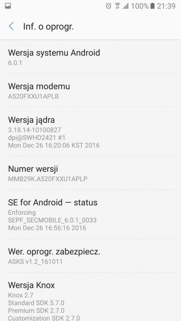 Informacje o systemie w Samsungu Galaxy A5 2017 - recenzja 90sekund.pl