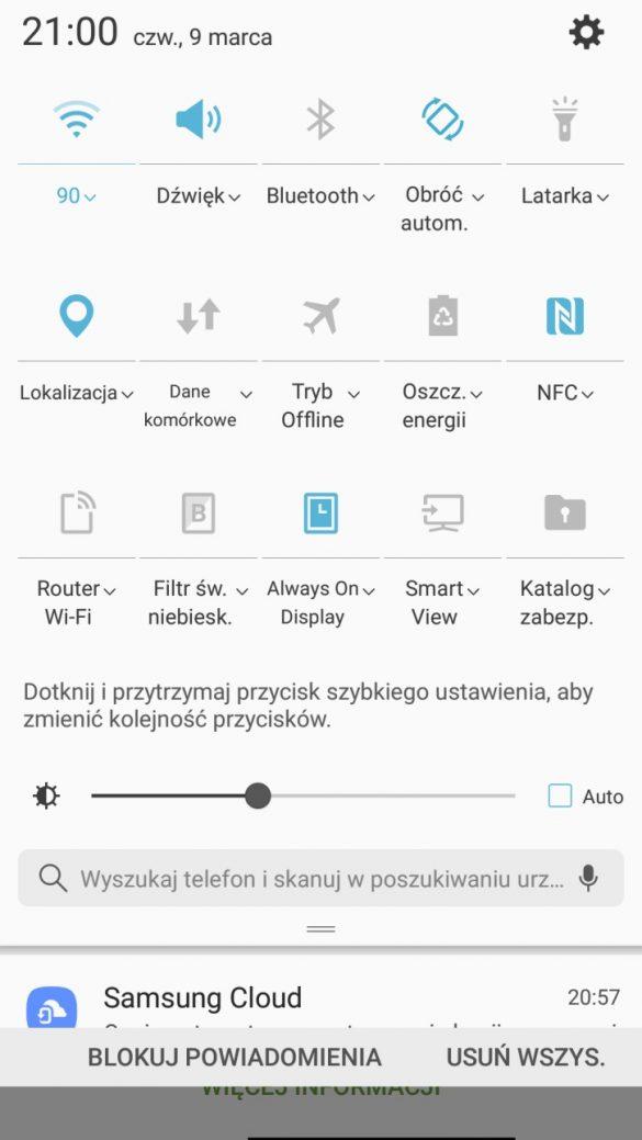 Nowa sekcja z powiadomieniami i menu podręcznym w Samsungu Galaxy A5 2017 - recenzja 90sekund.pl