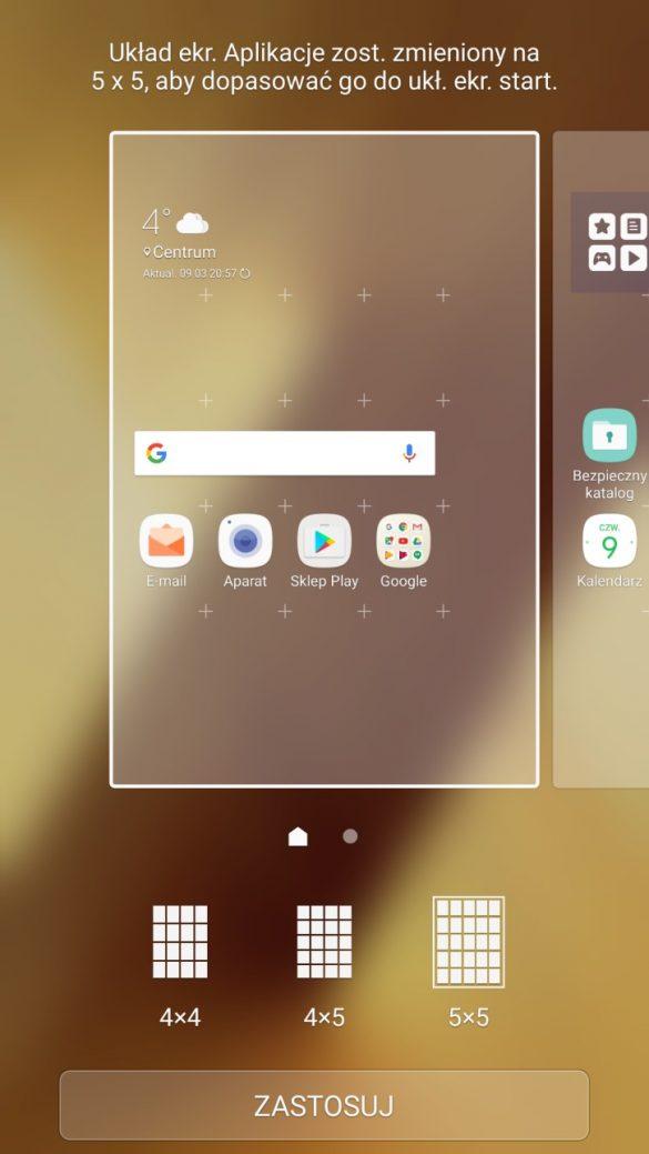 Wygląd ekranu głównego i jego ustawienia w Samsungu Galaxy A5 2017 - recenzja 90sekund.pl