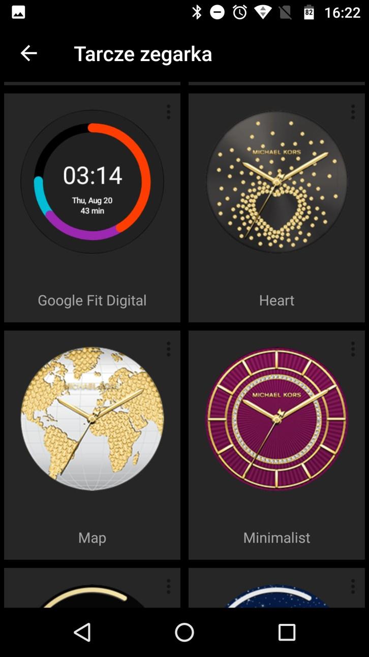 fb9467ce41577 Aplikacja Android Wear na smartfonie i podgląd licznych tarcz, gł. od Michael  Kors Access - recenzja 90sekund.pl