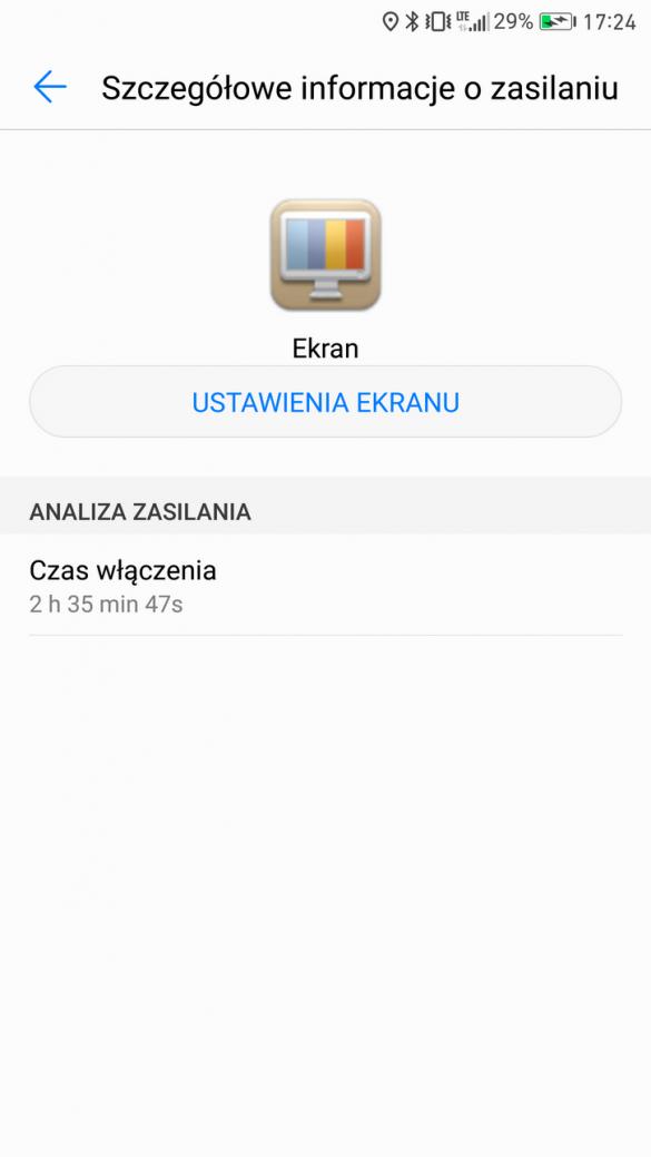 Huawei Mate 9 Pro - Przykładowe zużycie baterii - recenzja 90sekund.pl