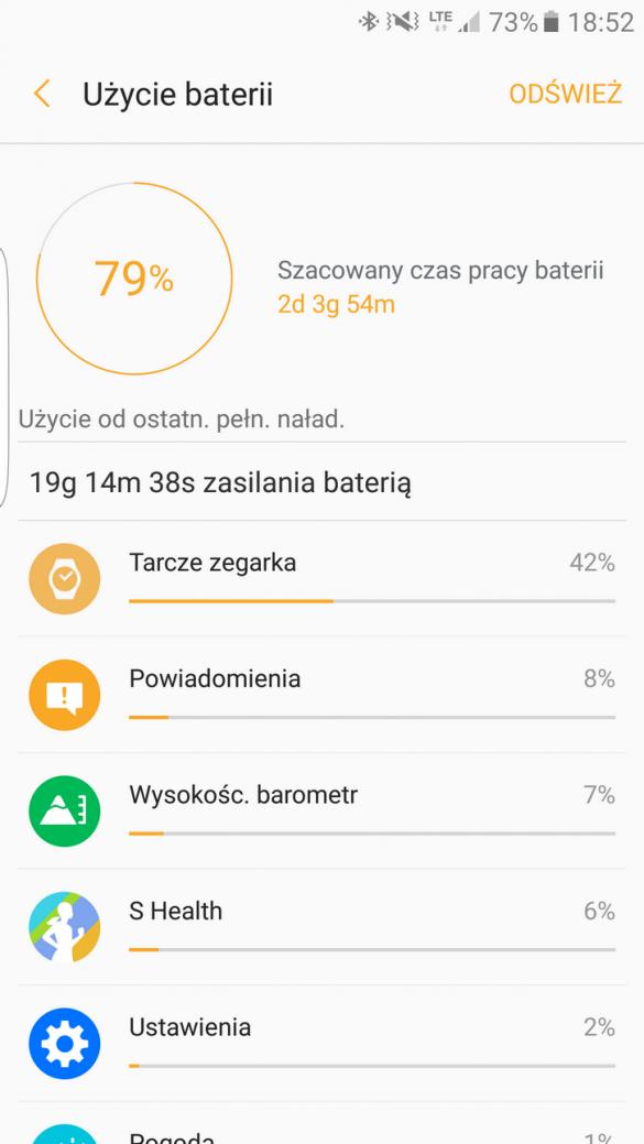 Samsung Gear S3 Frontier (SM-R760) - Przykładowe zużycie baterii - 90sekund.pl