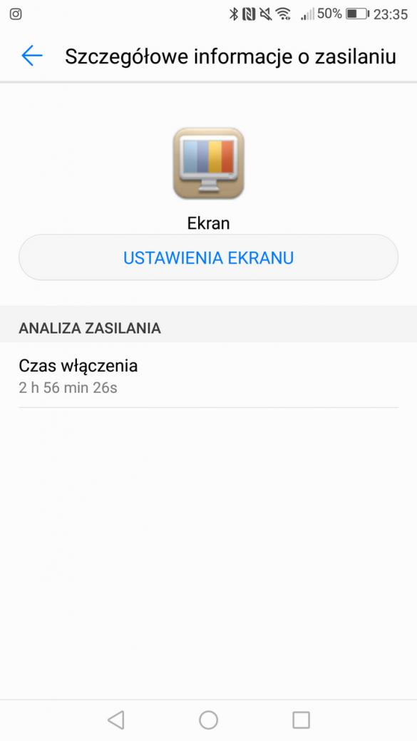 Huawei P9 Lite (2017) - Przykładowe zużycie baterii - recenzja 90sekund.pl