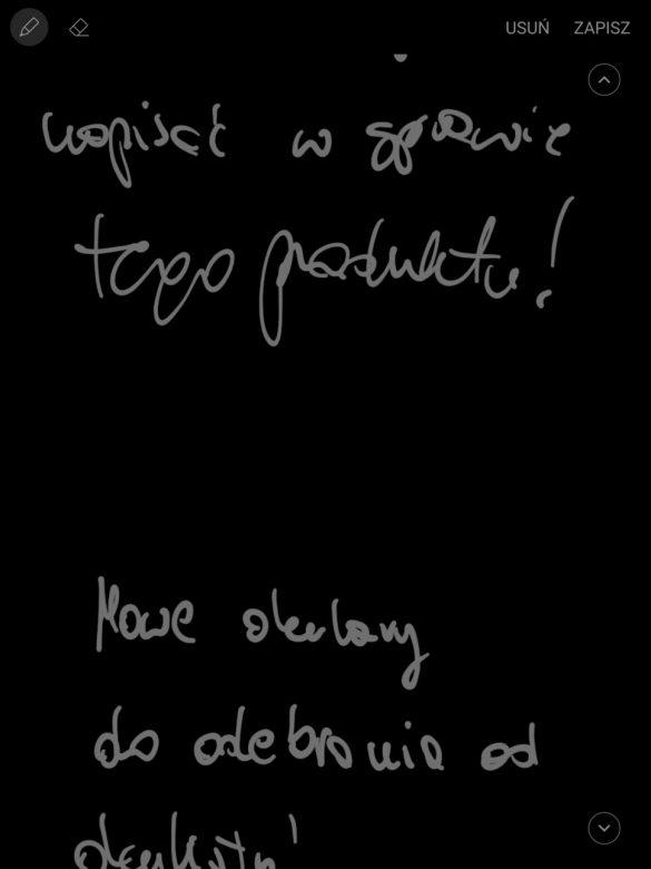 Notatka wykonana na zablokowanym ekranie tabletu Samsung Galaxy Tab S3 - 90sekund.pl