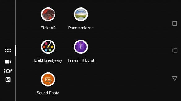 Aplikacja Aparatu w Sony Xperii XA1 Ultra - menu efektów - 90sekund.pl