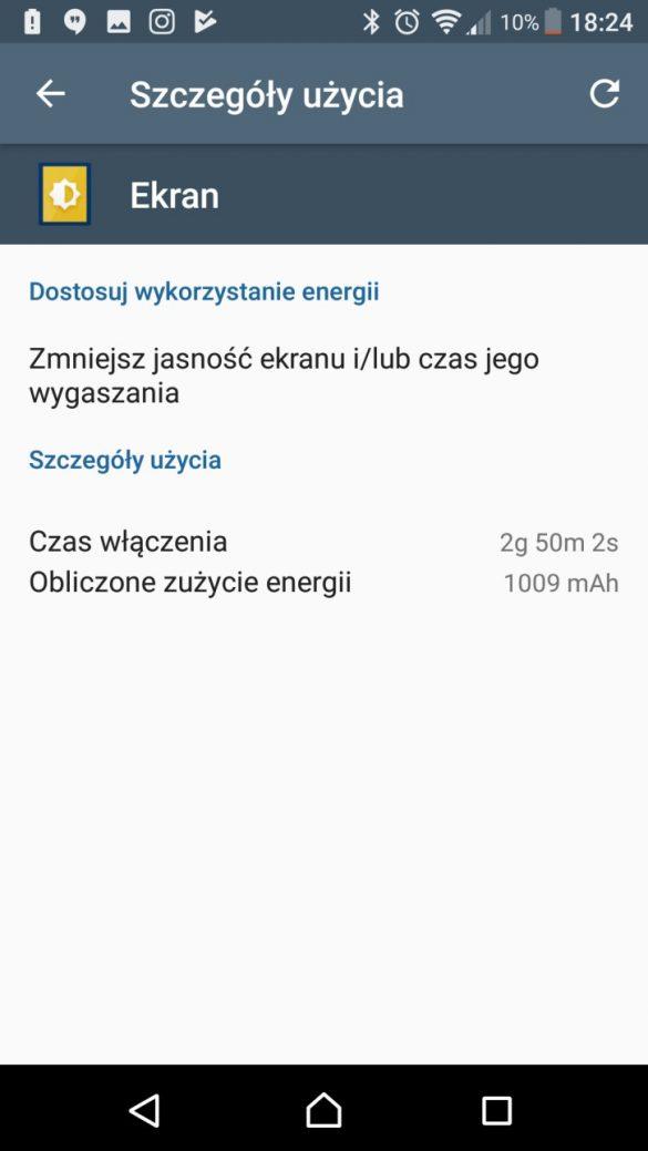 Sony Xperia XA1 Ultra - przykładowe użycie baterii - 90sekund.pl