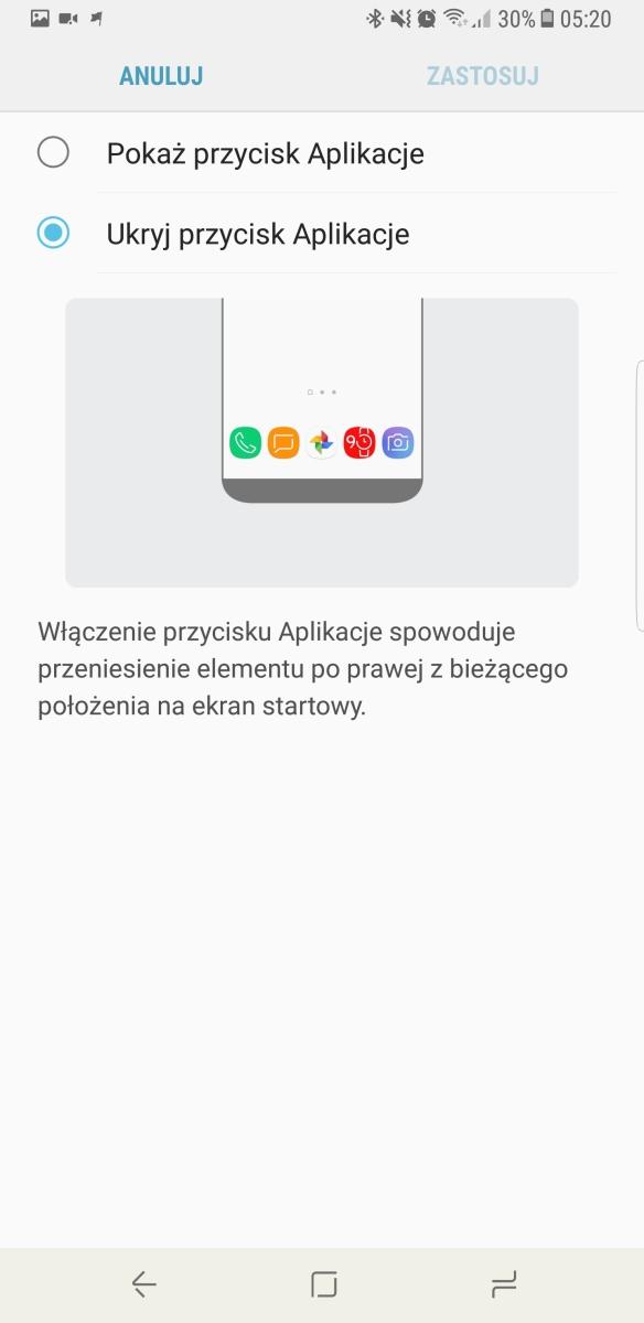 Menu Aplikacji w Galaxy Note8 - recenzja 90sekund.pl