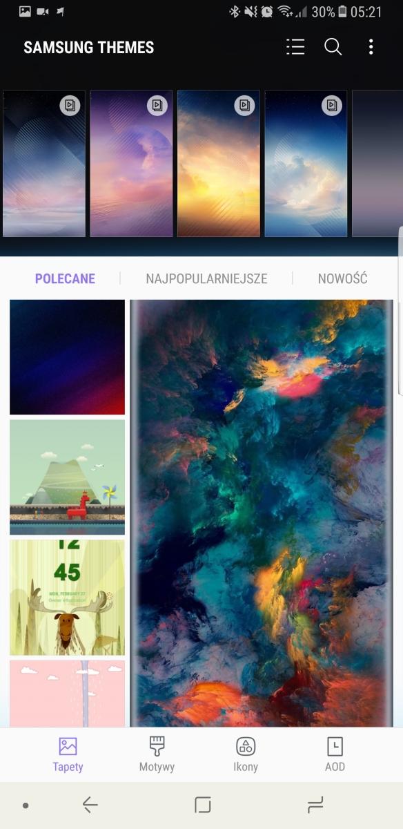 Ekran główny i opcje personalizacji w Galaxy Note8 - recenzja 90sekund.pl