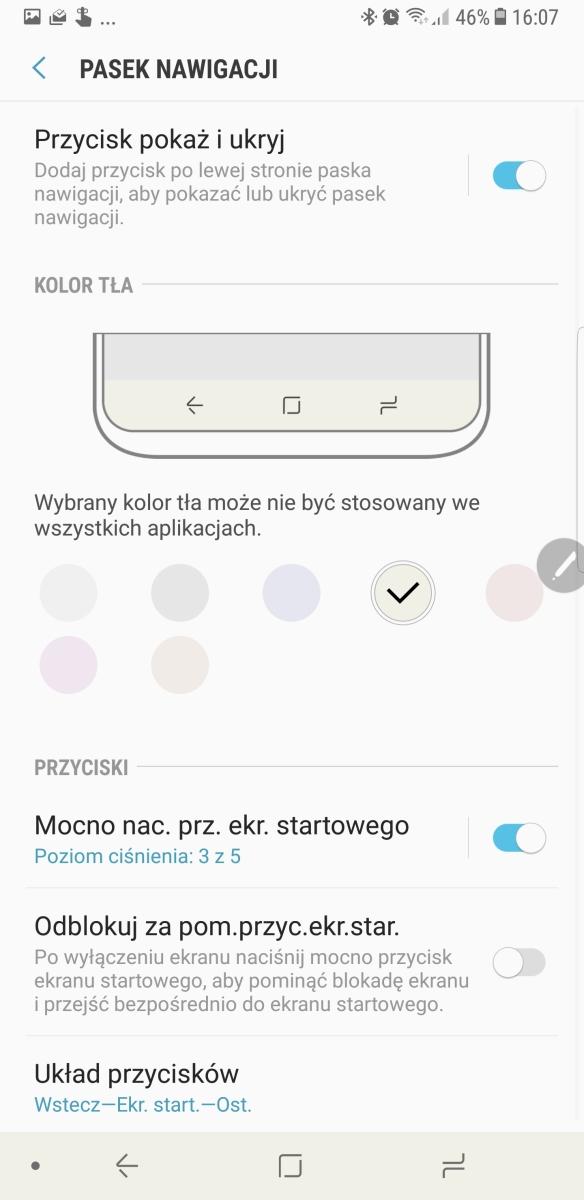 Zarządzanie paskiem nawigacyjnym w Galaxy Note8 - recenzja 90sekund.pl