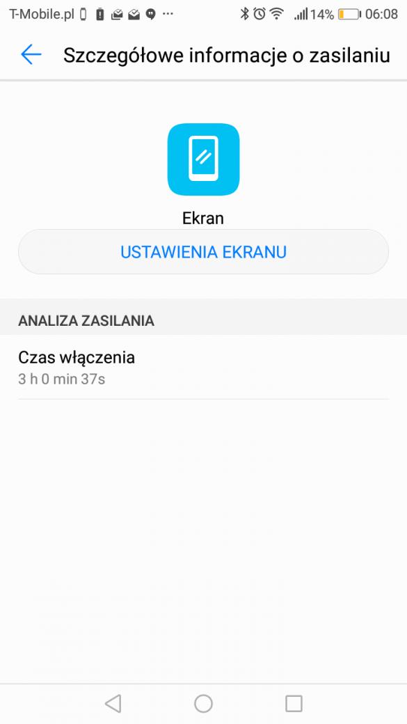 Przykładowy czas pracy na jednym ładowaniu Huawei P9 Lite Mini 2017 (SLA-L22) - recenzja 90sekund.pl