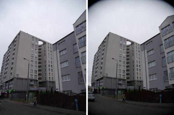 Po lewej zdjęcie JPEG, po prawej RAW z dystorsjami - Hasselblad True Zoom - 90sekund.pl