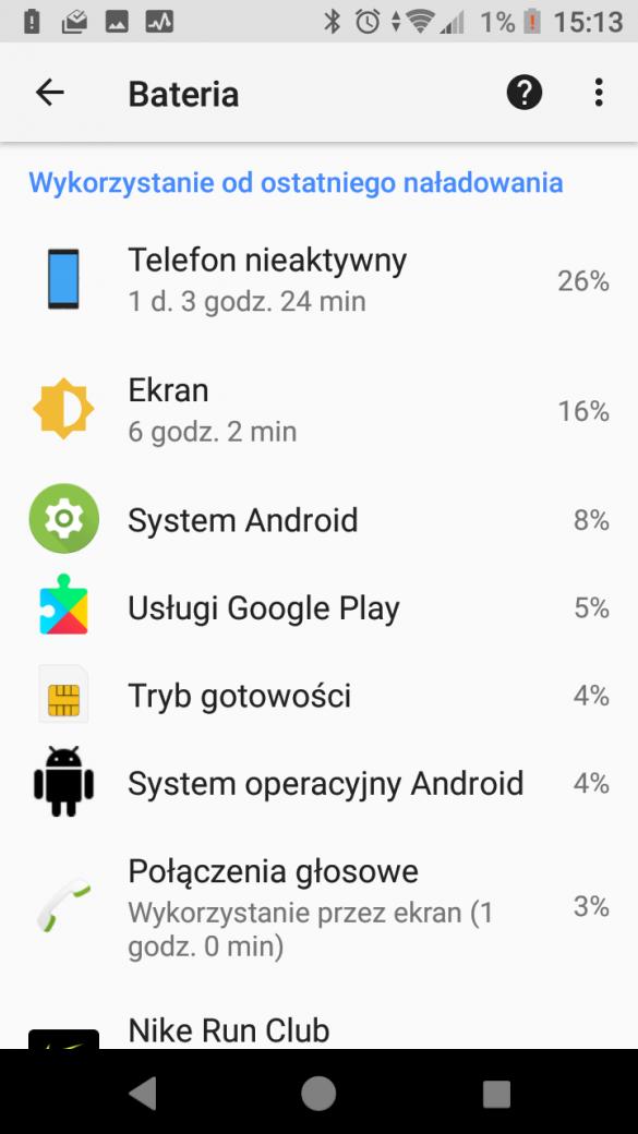 Sony Xperia XZ1 Compact - przykładowy czas pracy na baterii - 90sekund.pl