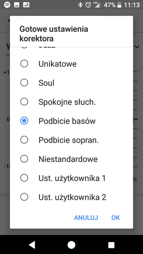 Ustawienia muzyki w Sony Xperia XZ1 Compact (G8441) - 90sekund.pl