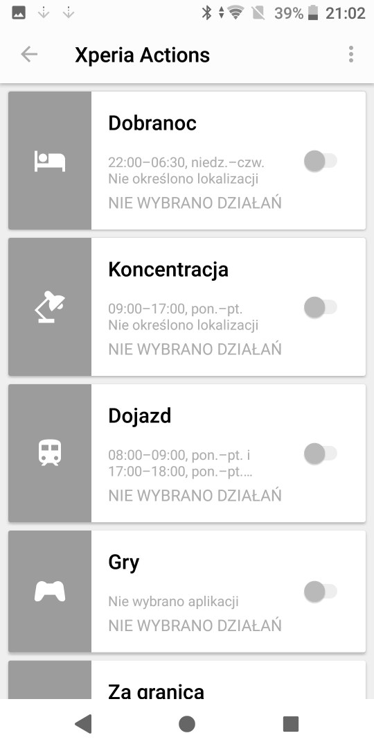 Xperia Actions w Sony Xperii XZ2 - 90sekund.pl