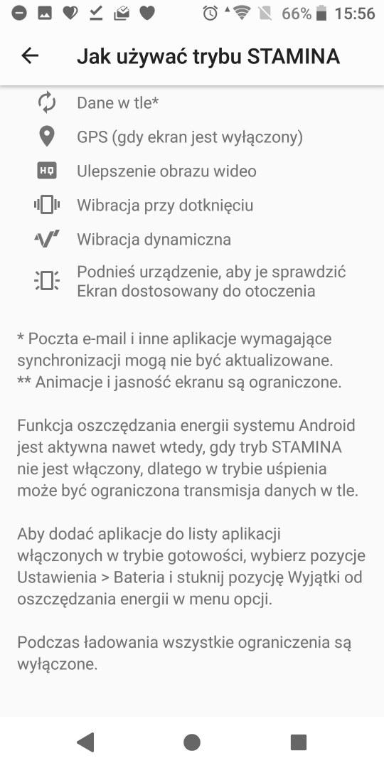 Tryby bateryjne w Sony Xperii XZ2 - 90sekund.pl