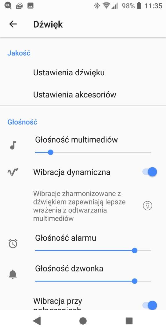 Ustawienia dźwięku w Sony Xperii XZ2 - 90sekund.pl