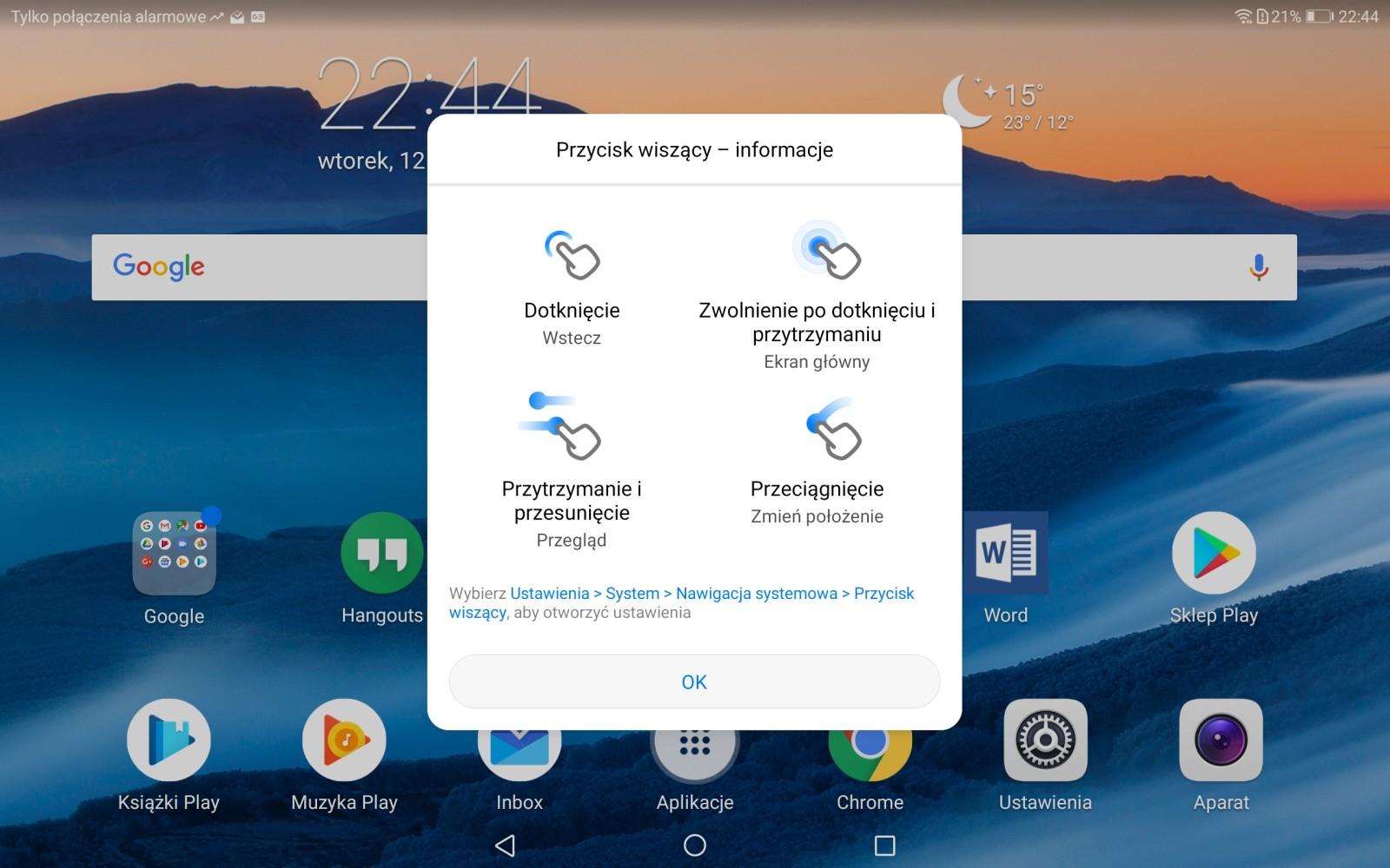 Nowe funkcjonalności w Przycisku Wiszącym na Huawei MediaPadzie M5 - 90sekund.pl