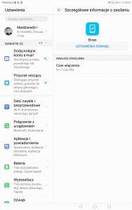 Przykładowy czas pracy Huawei MediaPada M5 na baterii - recenzja 90sekund.pl