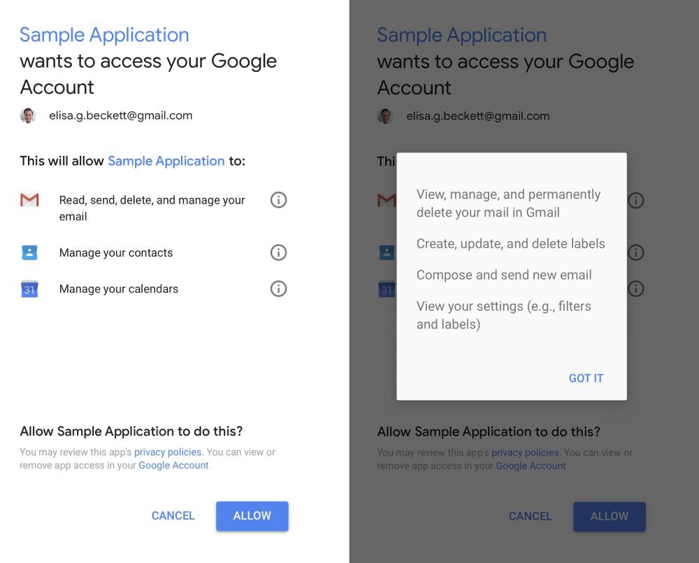 Przykład, jak wygląda strona z nadawaniem uprawnień apce firmy trzeciej do naszego konta Gmail