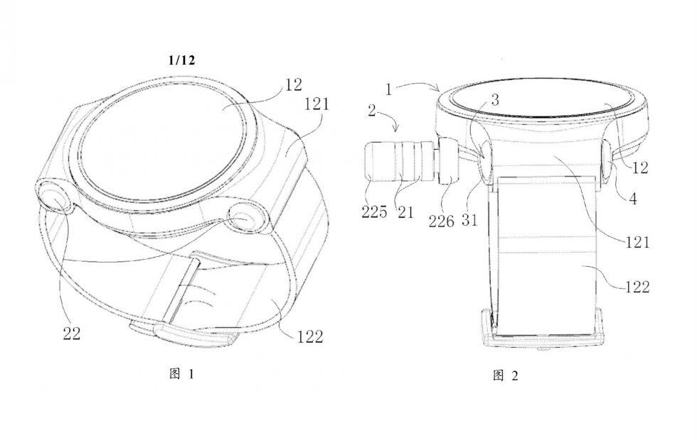 Patent pokazujący zadokowane słuchawki w Huawei Watch