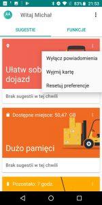 Sugestie Moto w Moto G6 Plus - recenzja 90sekund.pl