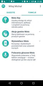 Funkcje Moto w Moto G6 Plus - recenzja 90sekund.pl