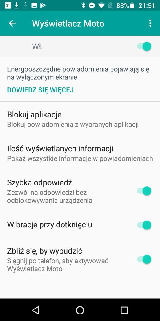 Wyświetlacz Moto w Moto G6 Plus - recenzja 90sekund.pl