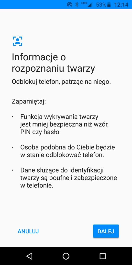 Rozpoznawanie twarzy w Moto G6 Plus - 90sekund.pl