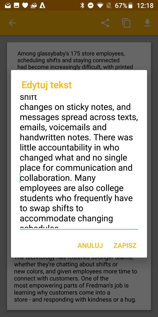 Moto G6 Plus rozpoznaje tekst drukowany na papierze i przerzuca do wersji edytowalnej - 90sekund.pl