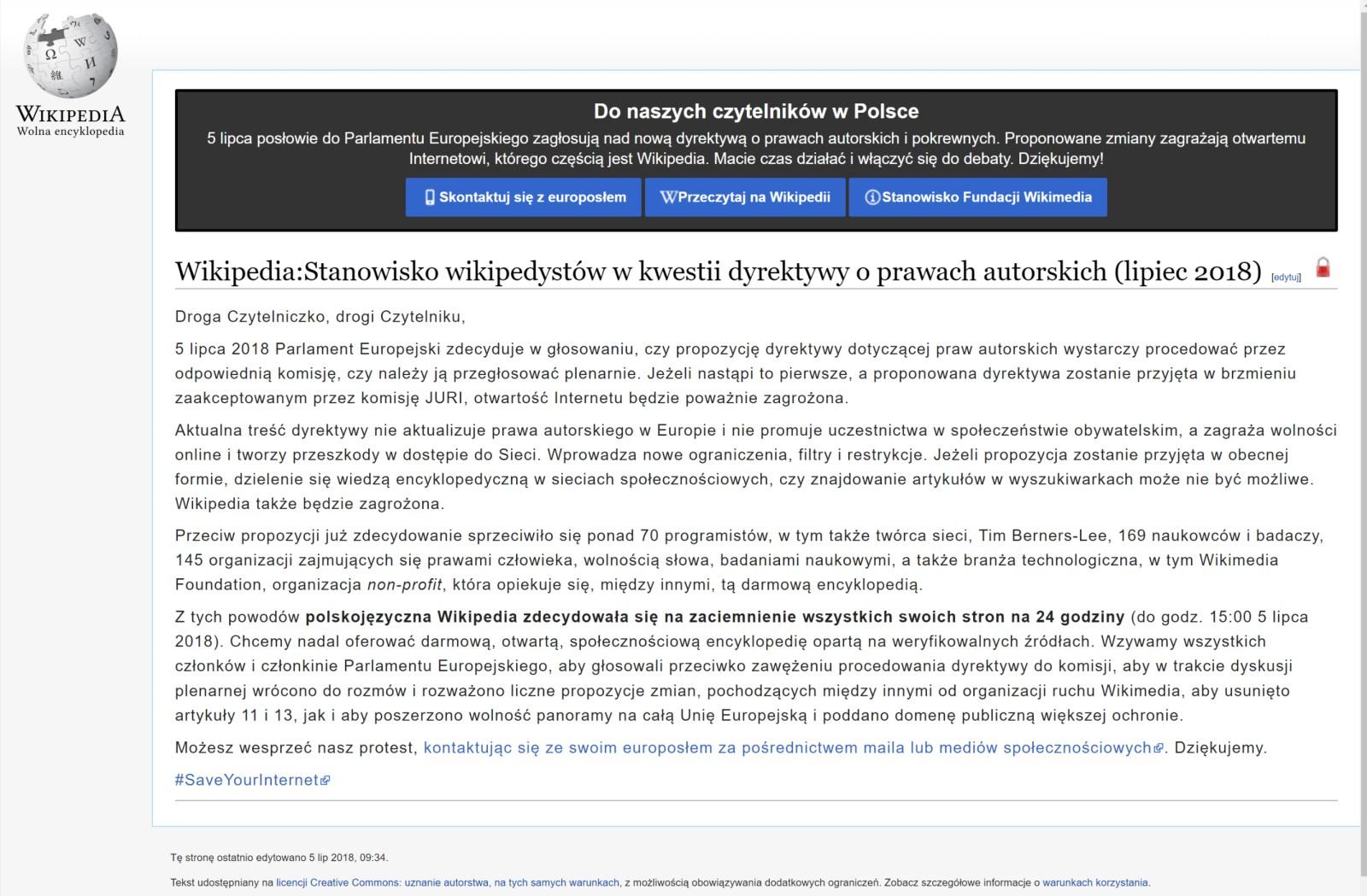 Wikipedia nie działa w proteście przeciw Artykułowi 11. i 13. - 90sekund.pl