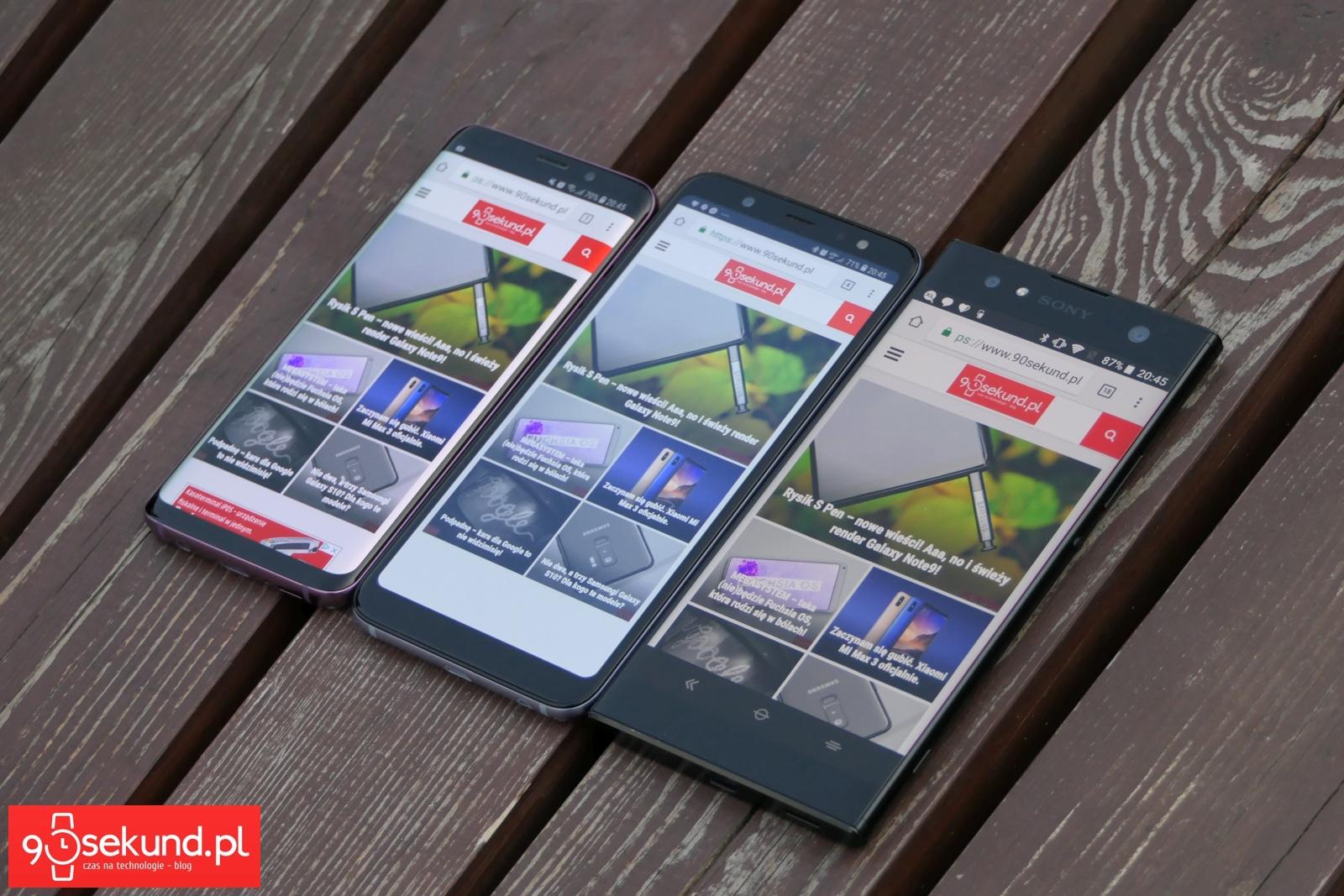 Od lewej: Samsung Galaxy S9, Samsung Galaxy A6+, Sony Xperia Xa2 Ultra - 90sekund.pl - Michał Brożyński