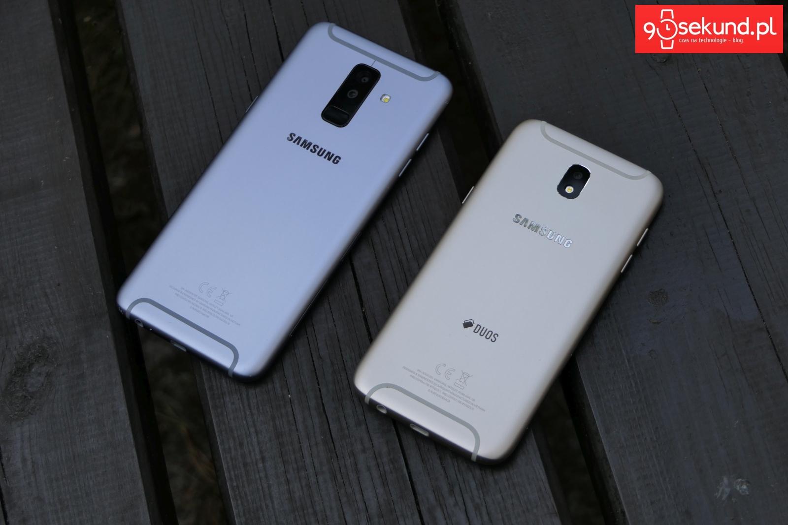 Od lewej: Srebrny Samsung Galaxy A6+ i złoty Galaxy J5 (2017) - 90sekund.pl - Michał Brożyński