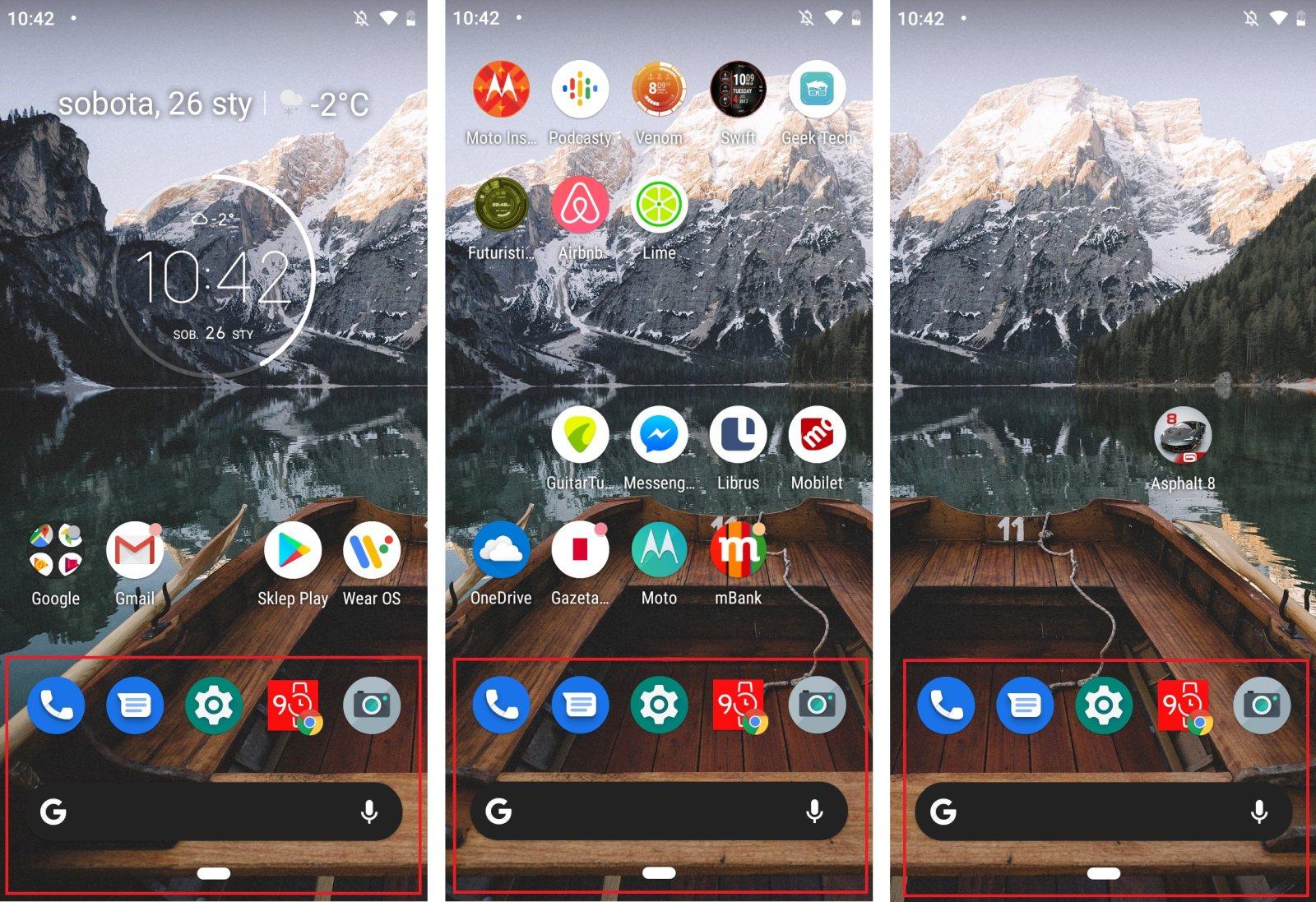 Pasek nawigacyjny, widget Google oraz podstawowe aplikacje zabierają miejsce na każdym pulpicie, a nie tylko ekranie głównym w Motoroli One - Michał Brożyński 0 90sekund.pl
