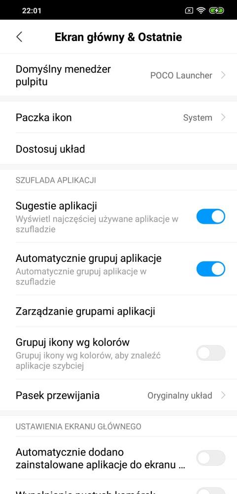 Ustawienia Poco Launchera na Pocophone F1 - Michał Brożyński 90sekund.pl