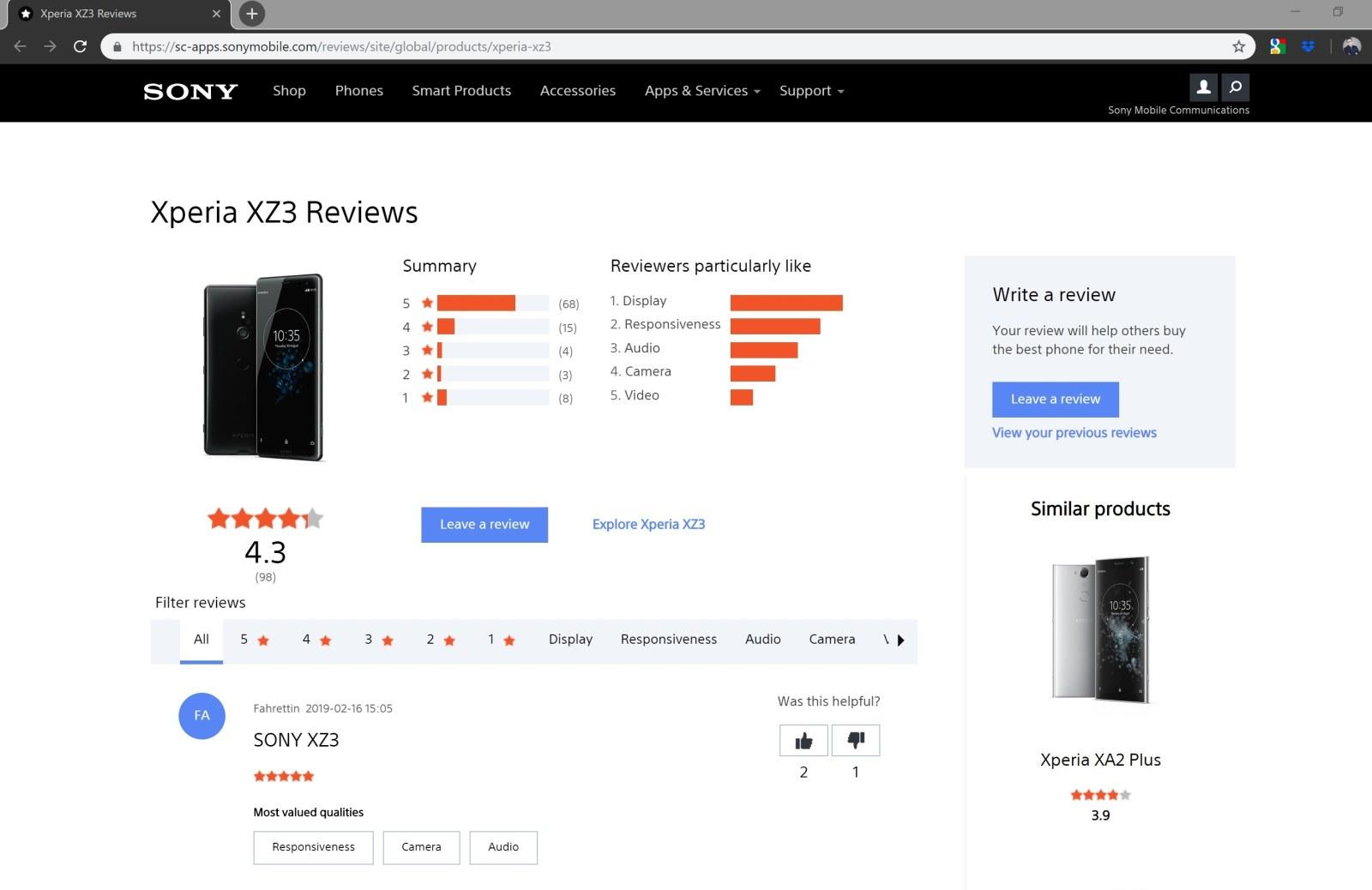Opinie o Sony Xperii XZ3 na stronie Sony